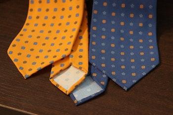 Madder Silk Printed Floral - Navy Blue/Orange