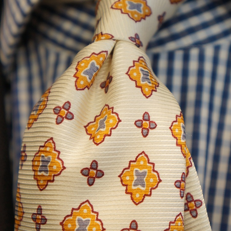 Medallion Vintage Silk Tie - Citrus Yellow