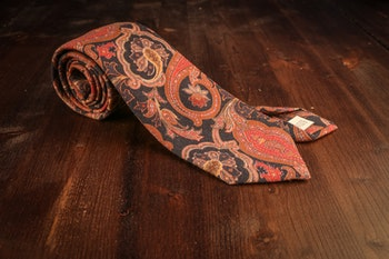 Wool Paisley - Rust/Navy Blue