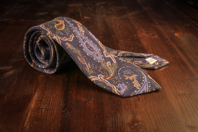 Wool Paisley - Navy Blue/Green