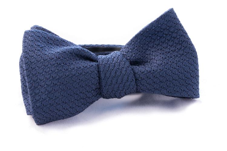 Solid Grenadine Grossa Bow Tie - Navy Blue