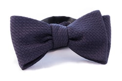 Solid Grenadine Grossa Bow Tie - Dark Navy Blue