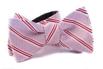 Regimental Grenadine Bow Tie - Pink/Red