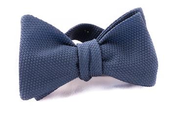 Solid Grenadine Fina Bow Tie - Navy Blue