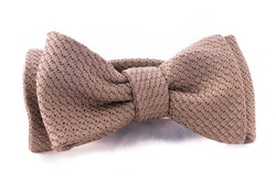 Solid Grenadine Grossa Bow Tie - Beige