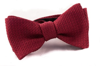 Solid Grenadine Grossa Bow Tie - Burgundy