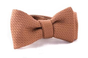 Solid Grenadine Grossa Bow Tie - Dark Beige