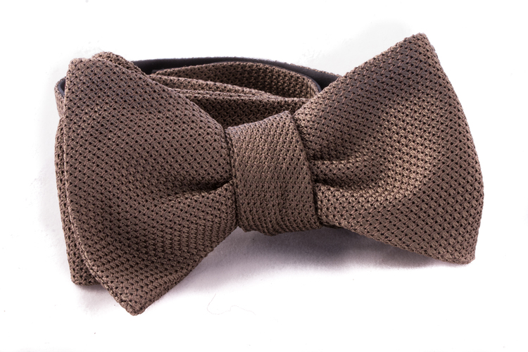 Solid Grenadine Fina Bow Tie - Olive Green