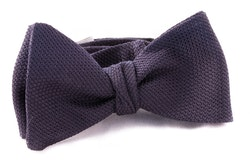 Solid Grenadine Fina Bow Tie - Dark Navy