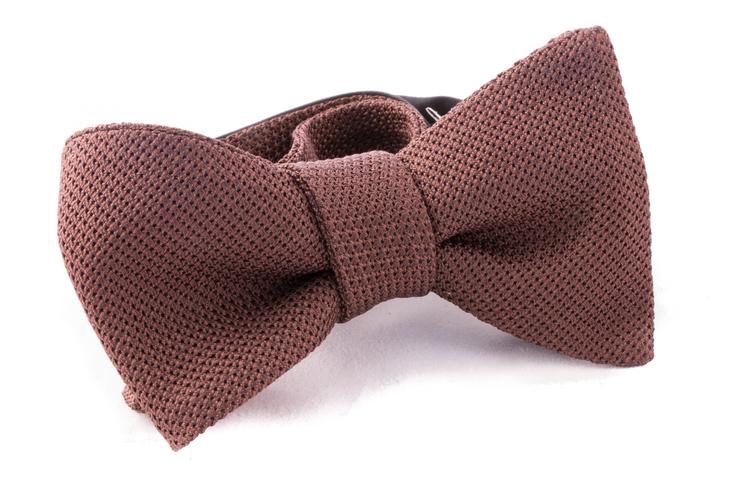 Solid Grenadine Fina Bow Tie - Brown