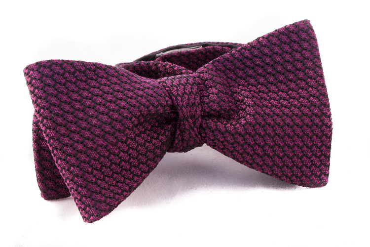 Solid Grenadine Grossa Bow Tie - Cerise/Navy Blue