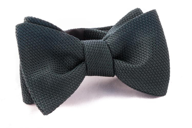 Solid Grenadine Fina Bow Tie - Dark Green