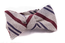 Regimental Grenadine Bow Tie - White/Burgundy/Navy