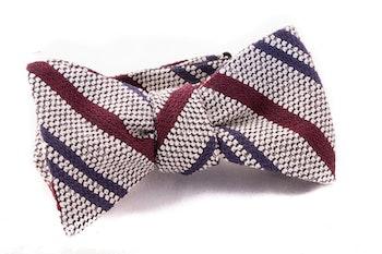 Regimental Grenadine Bow Tie - White/Burgundy/Navy
