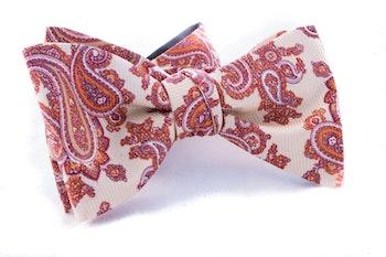 Paisley Vintage Silk Bow Tie - Citrus/Red