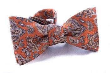 Paisley Vintage Silk Bow Tie - Rust/Beige
