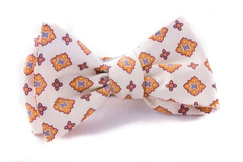 Medallion Vintage Silk Bow Tie - Citrus/Gold