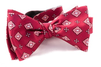 Medallion Vintage Silk Bow Tie - Dark Red/Pink