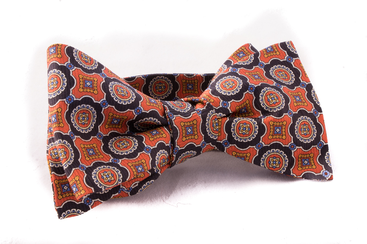 Self tie Silk Vintage - Rust/Navy Blue