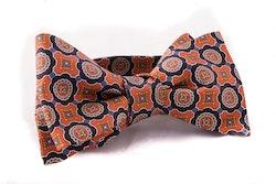 Medallion Vintage Silk Bow Tie - Rust/Navy Blue