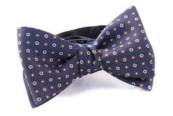 Self tie Silk - Navy Blue/Brown