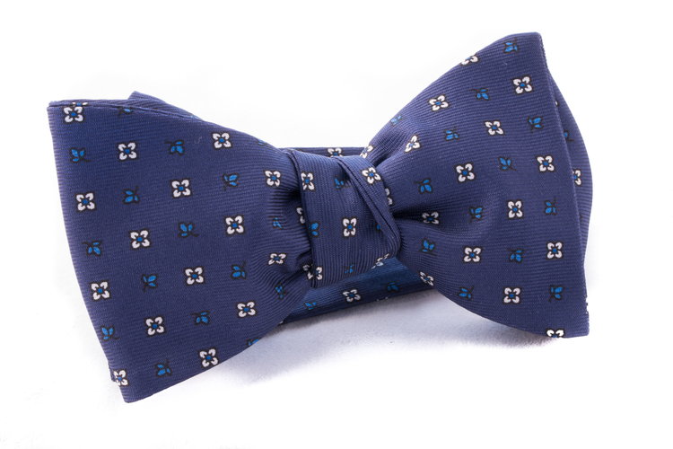 Self tie Silk - Navy Blue/White