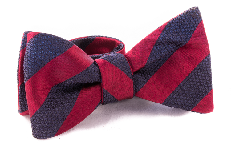 Regimental Grenadine Bow Tie - Burgundy/Navy Blue