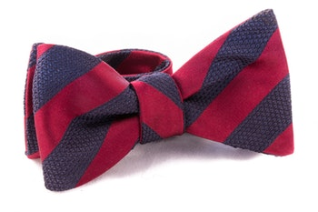 Regimental Grenadine Bow Tie - Burgundy/Navy Blue