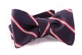 Regimental Grenadine Bow Tie - Navy Blue/White/Red