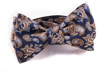 Paisley Vintage Silk Bow Tie - Navy Blue/Beige