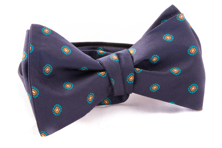 Self tie Silk - Navy Blue/Turquoise/Yellow