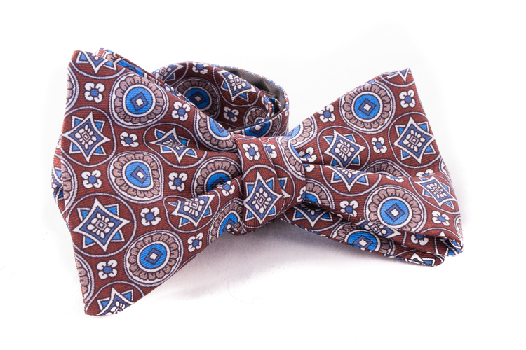 Medallion Silk Bow Tie - Brown/Blue