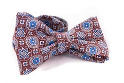 Medallion Silk Bow Tie - Brown/Blue