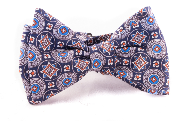 Self tie Silk - Navy Blue/Orange