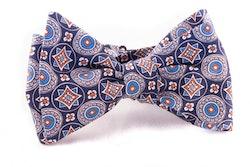 Medallion Silk Bow Tie - Navy Blue/Orange