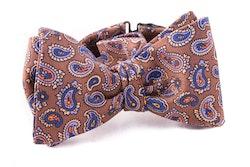 Paisley Vintage Silk Bow Tie - Beige/Blue/Purple