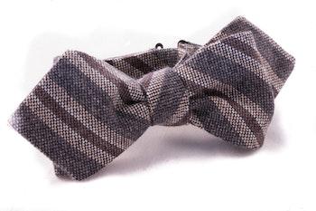 Regimental Cashmere Bow Tie - Grey/Brown/Beige