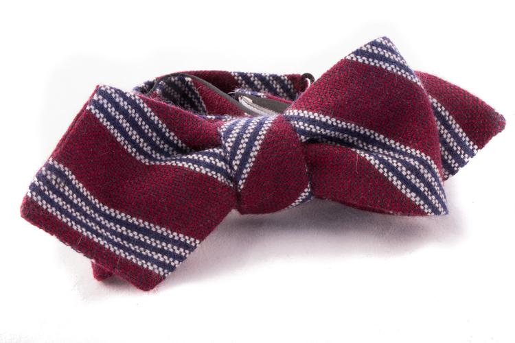Regimental Cashmere Bow Tie - Burgundy/Navy Blue