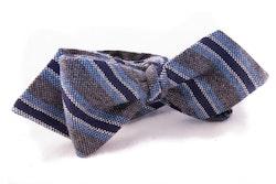 Regimental Cashmere Bow Tie - Grey/Navy Blue