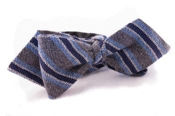 Self tie Cashmere - Grey/Navy Blue