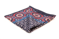 Silk Medallion - Navy Blue/Burgundy (36x36)