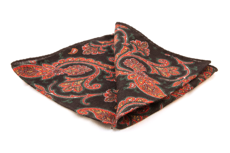 Wool Paisley - Navy Blue/Red/Green