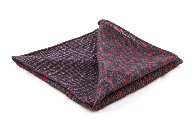 Wool Plaid/Polka Dot - Blue/Red