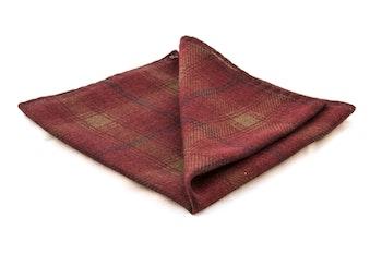 Plaide Wool Pocket Square - Burgundy/Blue