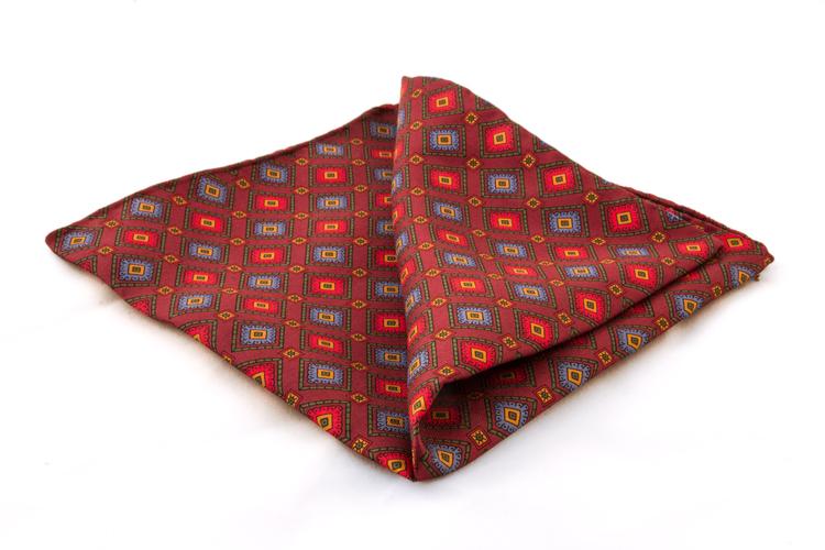 Squares Vintage Silk Pocket Square - Red/Blue
