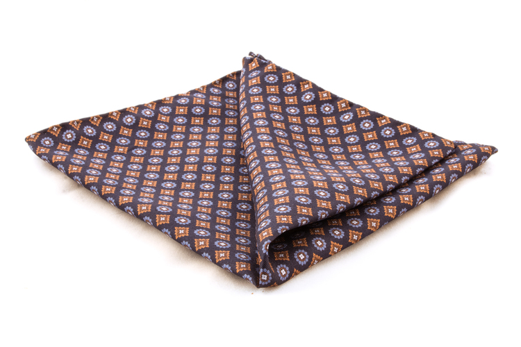 Floral Silk Pocket Square - Navy Blue/Light Blue/Brown
