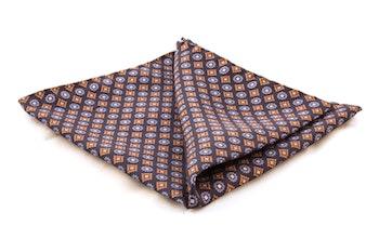 Floral Silk Pocket Square - Navy Blue/Light Blue/Brown