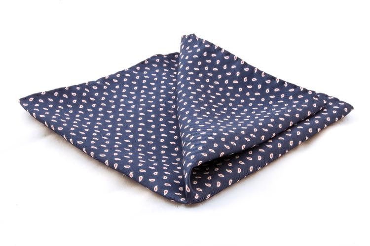 Paisley Silk Pocket Square - Navy Blue
