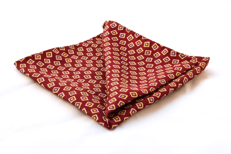 Vintage Silk Squares - Red/White