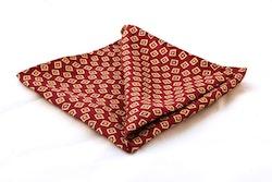 Squares Vintage Silk Pocket Square - Red/White